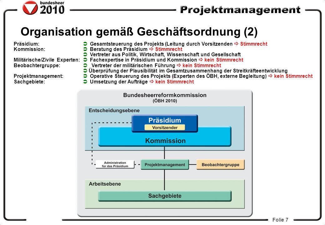 Folie 7 Organisation gemäß Geschäftsordnung (2) Präsidium: Gesamtsteuerung des Projekts (Leitung durch Vorsitzenden Stimmrecht Kommission: Beratung de