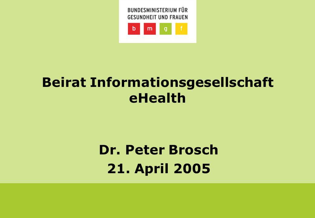 Beirat Informationsgesellschaft eHealth Dr. Peter Brosch 21. April 2005