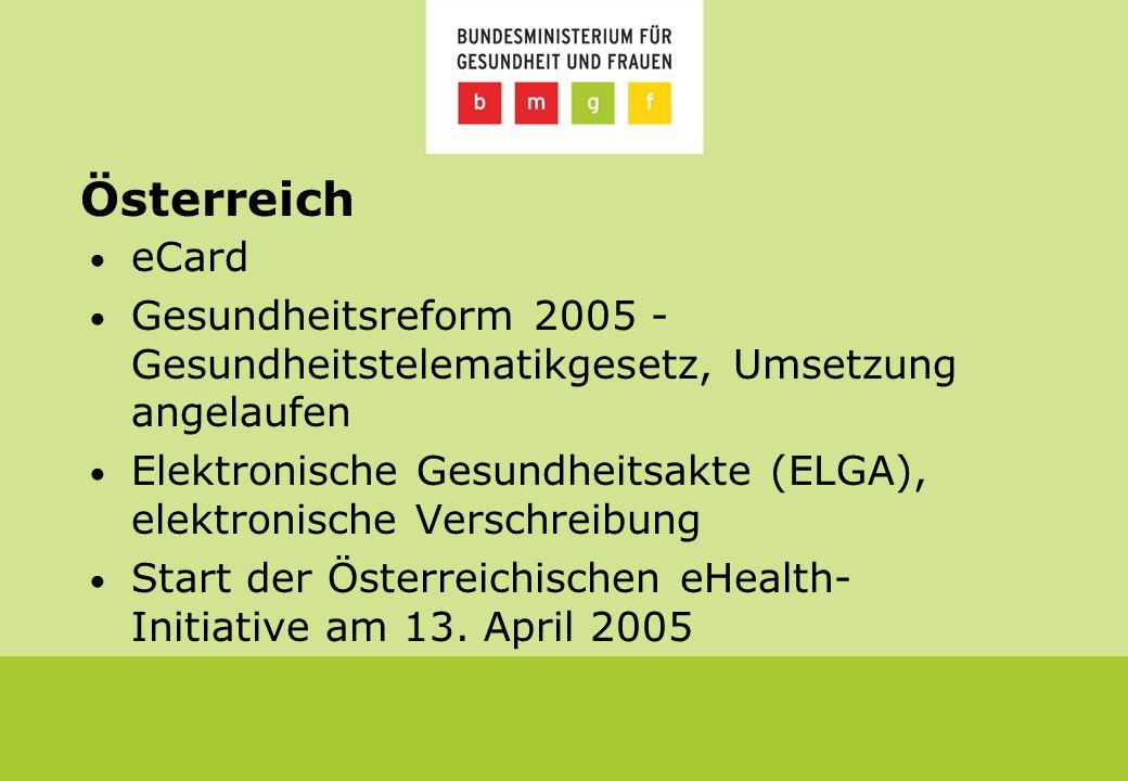 Österreich eCard Gesundheitsreform 2005 - Gesundheitstelematikgesetz, Umsetzung angelaufen Elektronische Gesundheitsakte (ELGA), elektronische Verschreibung Start der Österreichischen eHealth- Initiative am 13.