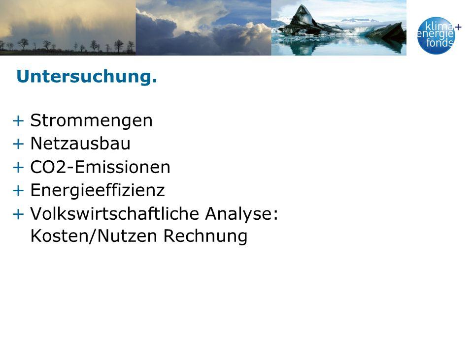 Untersuchung. +Strommengen +Netzausbau +CO2-Emissionen +Energieeffizienz +Volkswirtschaftliche Analyse: Kosten/Nutzen Rechnung