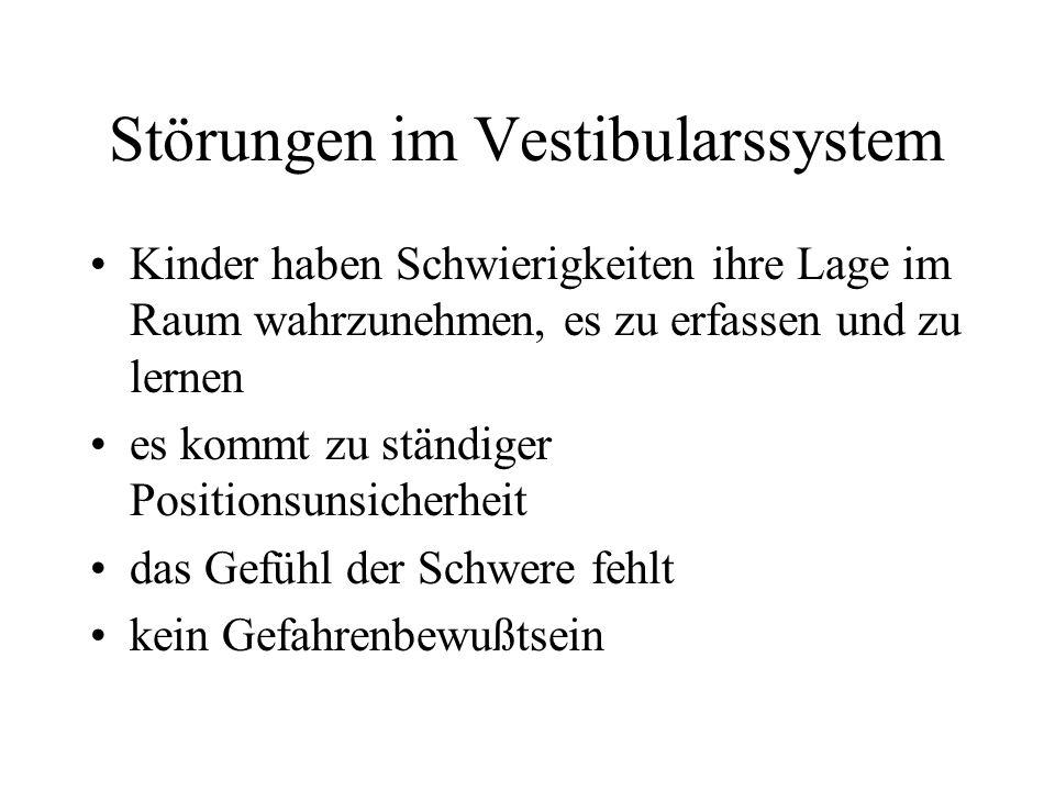 Einteilung in 5 Grundsysteme Vestibulärsystem (Gleichgewicht), taktiles System (berühren und tasten), kinästhetisches System (Lage- und Bewegungsempfi