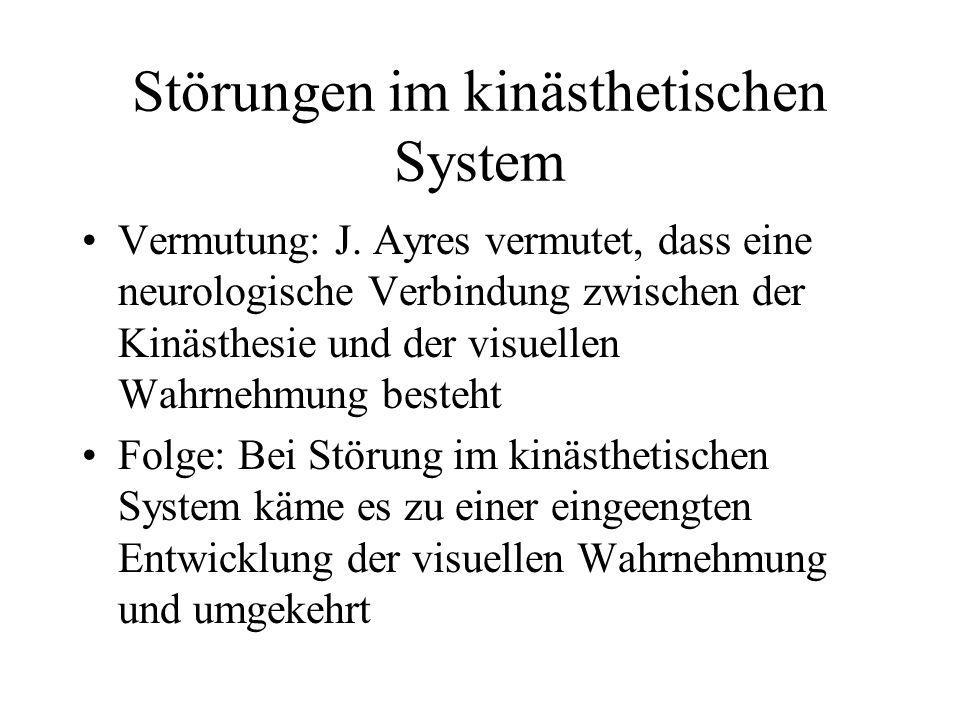 Störungen im kinästhetischen System Vermutung: J.