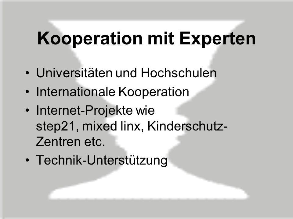 Kooperation mit Experten Universitäten und Hochschulen Internationale Kooperation Internet-Projekte wie step21, mixed linx, Kinderschutz- Zentren etc.