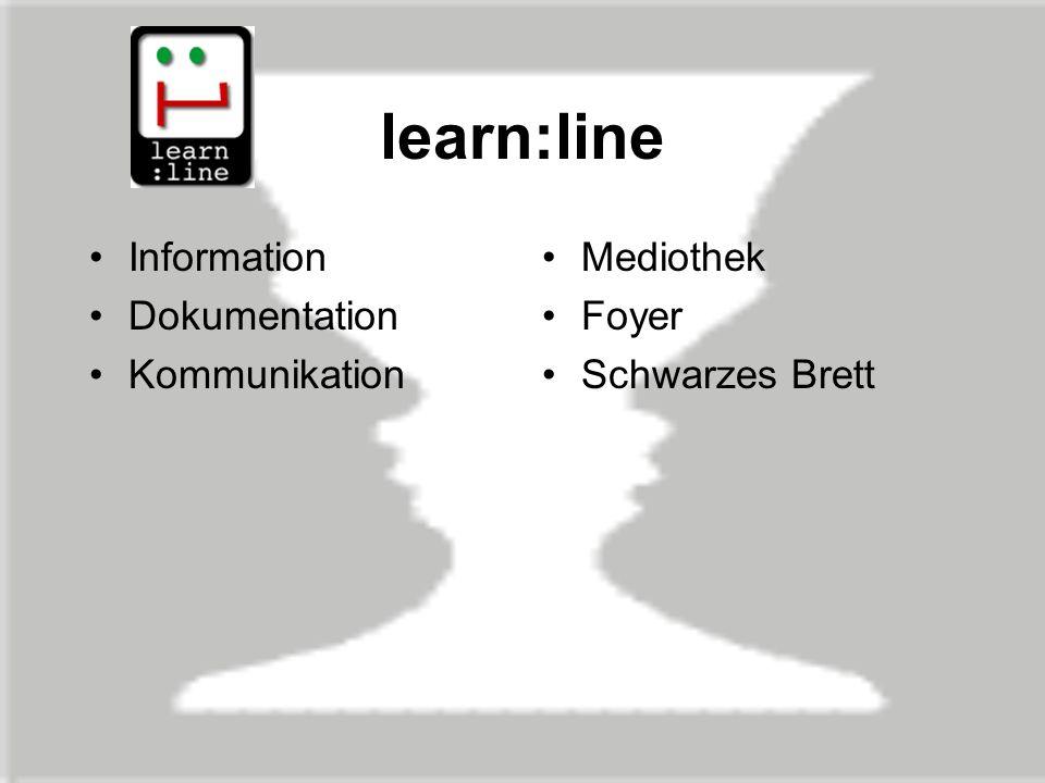 learn:line Information Dokumentation Kommunikation Mediothek Foyer Schwarzes Brett