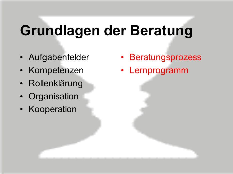 Grundlagen der Beratung Aufgabenfelder Kompetenzen Rollenklärung Organisation Kooperation Beratungsprozess Lernprogramm