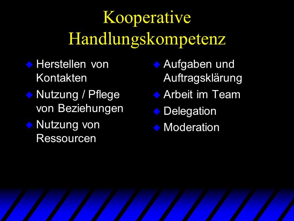Kooperative Handlungskompetenz u Herstellen von Kontakten u Nutzung / Pflege von Beziehungen u Nutzung von Ressourcen u Aufgaben und Auftragsklärung u