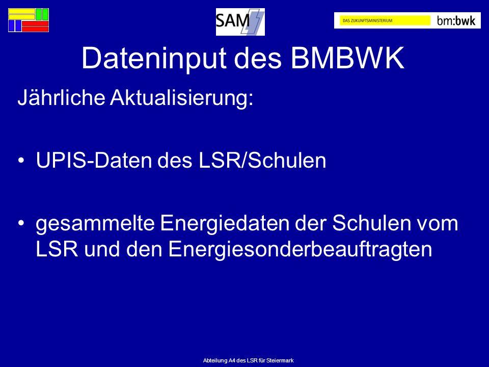 Abteilung A4 des LSR für Steiermark Dateninput des BMBWK Jährliche Aktualisierung: UPIS-Daten des LSR/Schulen gesammelte Energiedaten der Schulen vom