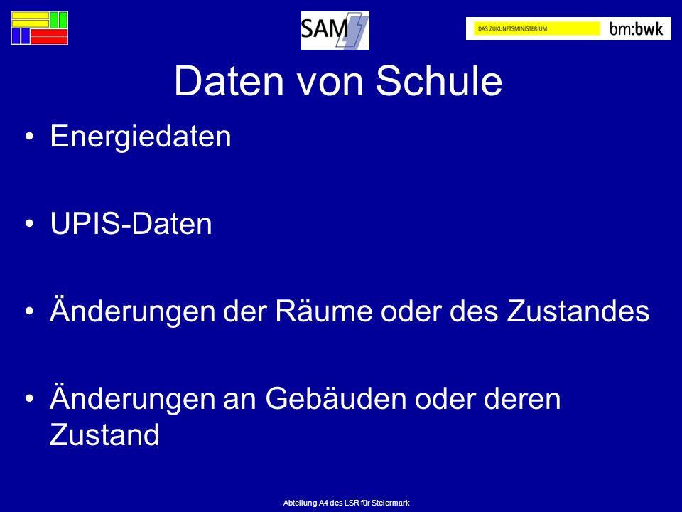 Abteilung A4 des LSR für Steiermark Daten von Schule Energiedaten UPIS-Daten Änderungen der Räume oder des Zustandes Änderungen an Gebäuden oder deren