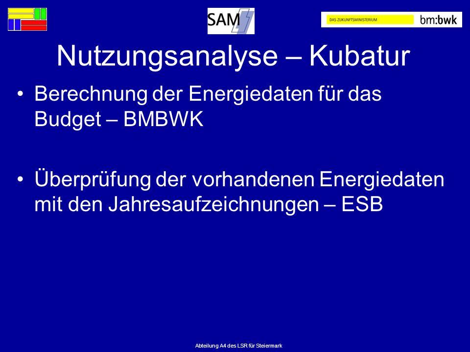 Abteilung A4 des LSR für Steiermark Nutzungsanalyse – Kubatur Berechnung der Energiedaten für das Budget – BMBWK Überprüfung der vorhandenen Energieda