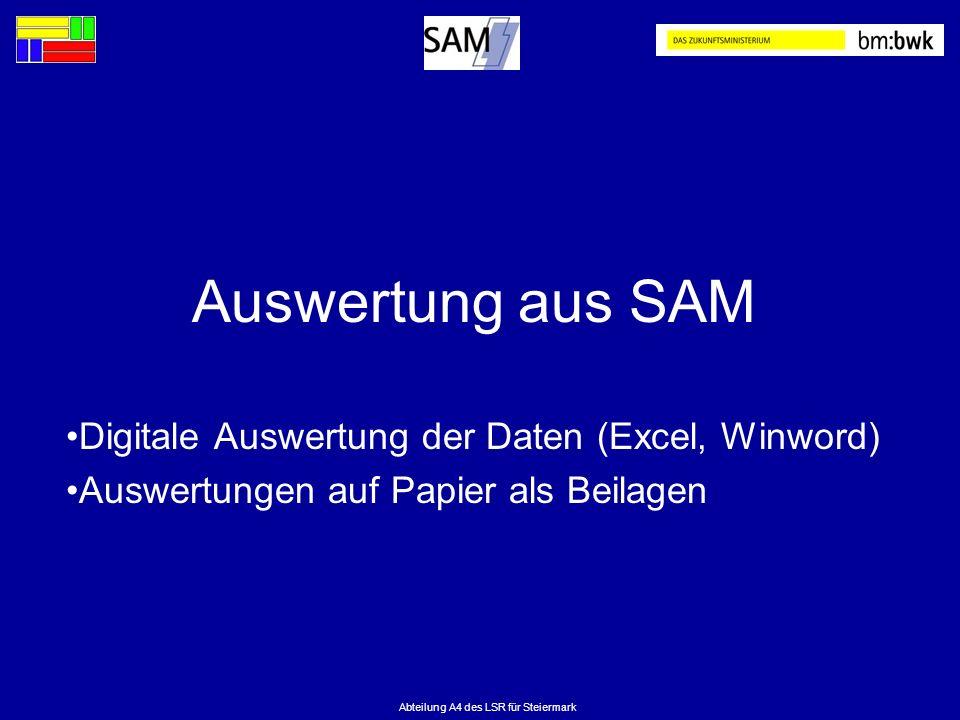 Abteilung A4 des LSR für Steiermark Auswertung aus SAM Digitale Auswertung der Daten (Excel, Winword) Auswertungen auf Papier als Beilagen
