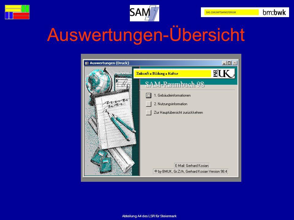 Abteilung A4 des LSR für Steiermark Auswertungen-Übersicht