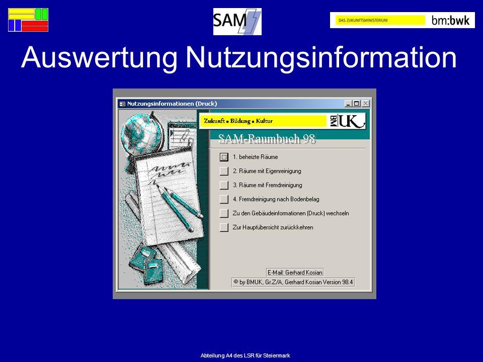 Abteilung A4 des LSR für Steiermark Auswertung Nutzungsinformation