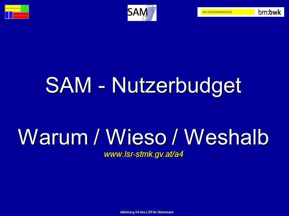 Abteilung A4 des LSR für Steiermark SAM - Nutzerbudget Warum / Wieso / Weshalb www.lsr-stmk.gv.at/a4