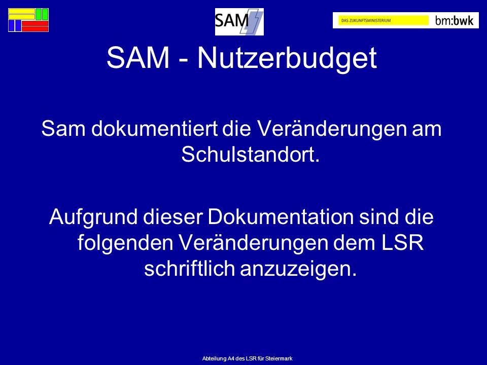 Abteilung A4 des LSR für Steiermark SAM - Nutzerbudget Sam dokumentiert die Veränderungen am Schulstandort. Aufgrund dieser Dokumentation sind die fol
