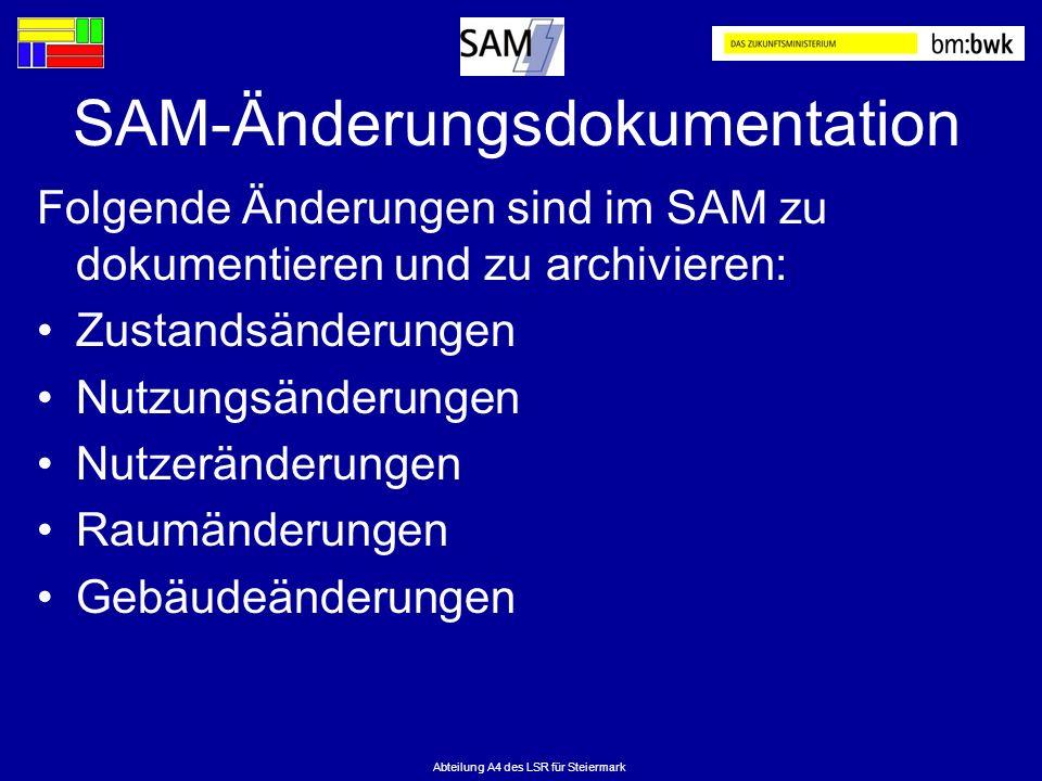Abteilung A4 des LSR für Steiermark SAM-Änderungsdokumentation Folgende Änderungen sind im SAM zu dokumentieren und zu archivieren: Zustandsänderungen