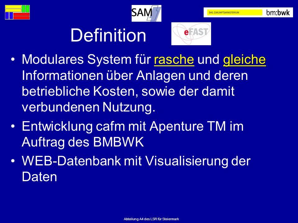 Abteilung A4 des LSR für Steiermark Definition gleicheModulares System für rasche und gleiche Informationen über Anlagen und deren betriebliche Kosten