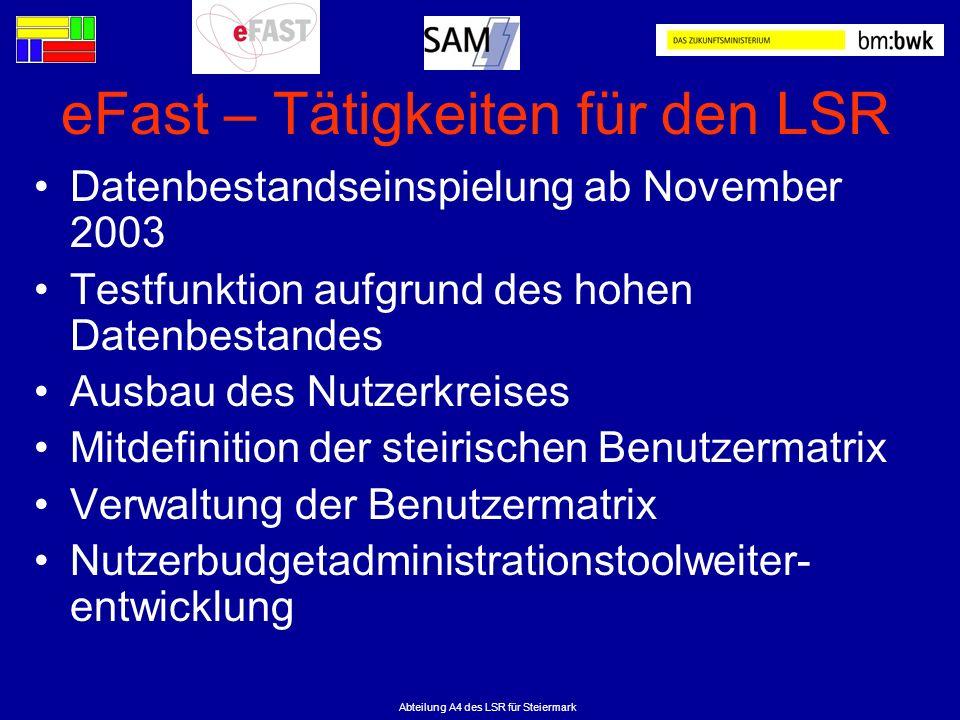Abteilung A4 des LSR für Steiermark eFast – Tätigkeiten für den LSR Datenbestandseinspielung ab November 2003 Testfunktion aufgrund des hohen Datenbes