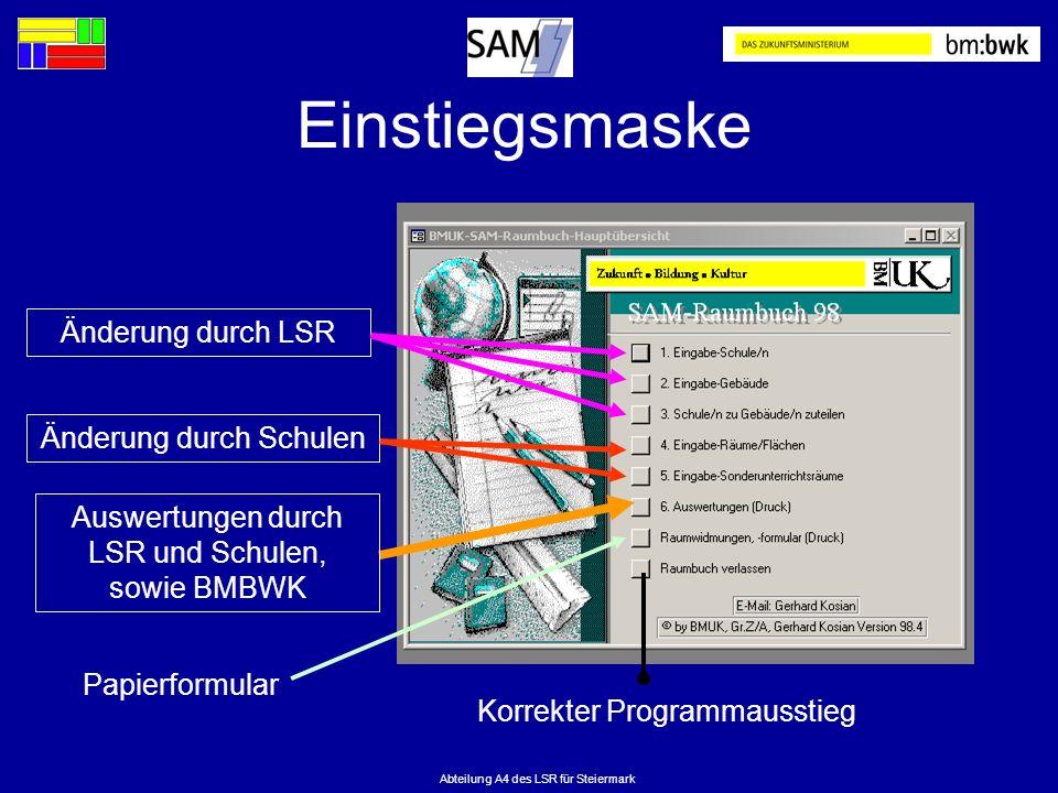 Abteilung A4 des LSR für Steiermark Einstiegsmaske Änderung durch SchulenÄnderung durch LSRAuswertungen durch LSR und Schulen, sowie BMBWK Korrekter P