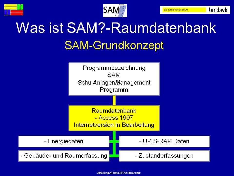 Abteilung A4 des LSR für Steiermark Was ist SAM?-Raumdatenbank