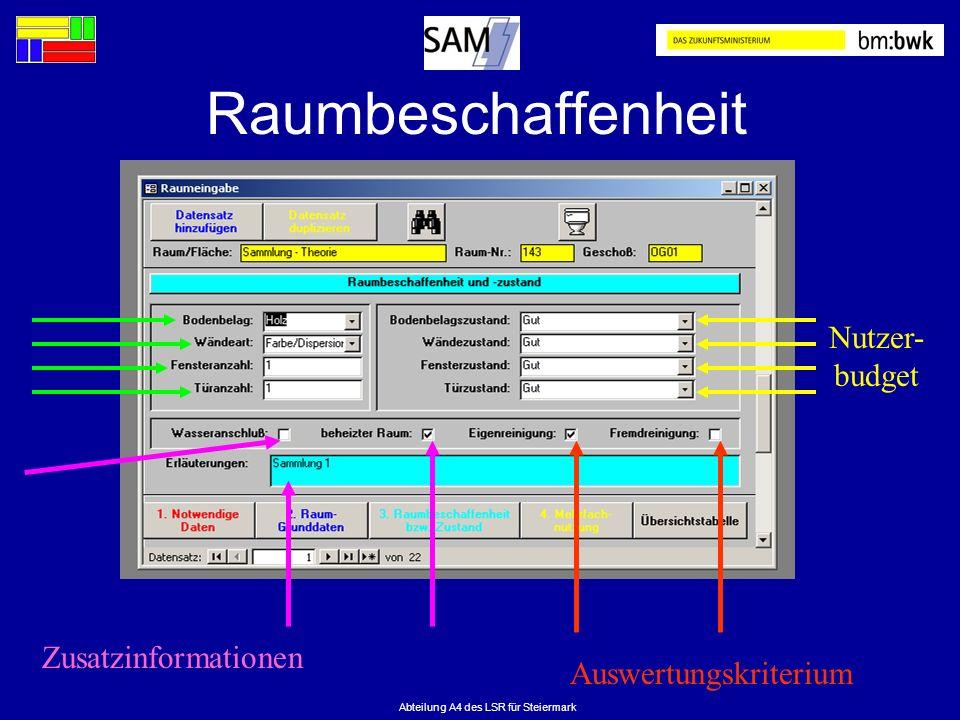 Abteilung A4 des LSR für Steiermark Raumbeschaffenheit Nutzer- budget Auswertungskriterium Zusatzinformationen