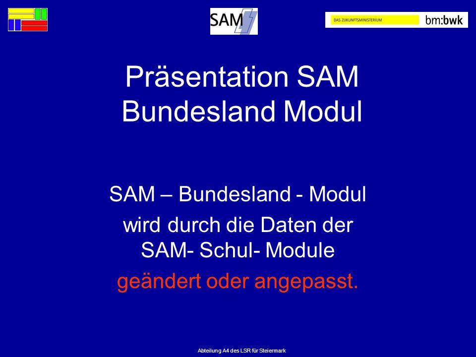 Abteilung A4 des LSR für Steiermark Präsentation SAM Bundesland Modul SAM – Bundesland - Modul wird durch die Daten der SAM- Schul- Module geändert od