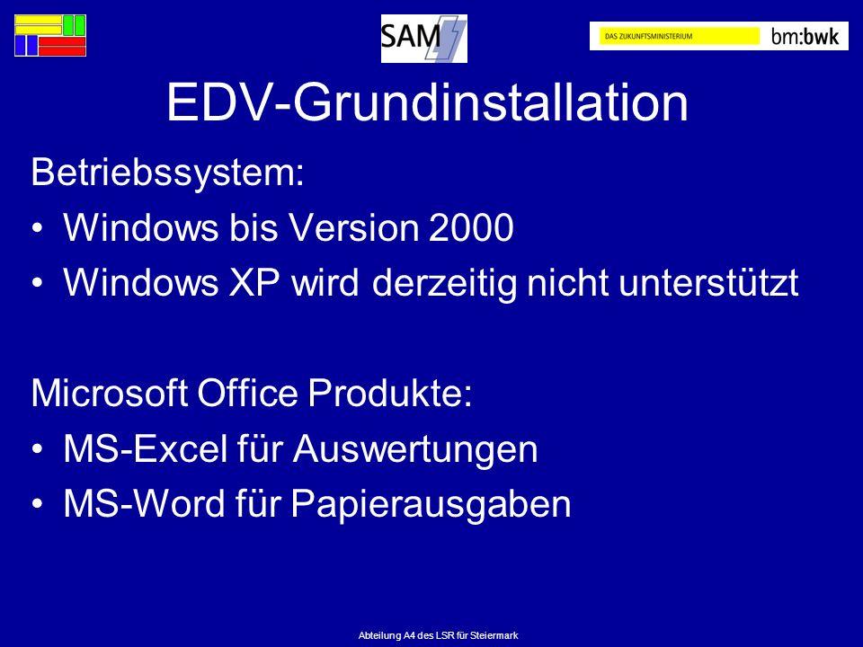 Abteilung A4 des LSR für Steiermark EDV-Grundinstallation Betriebssystem: Windows bis Version 2000 Windows XP wird derzeitig nicht unterstützt Microso