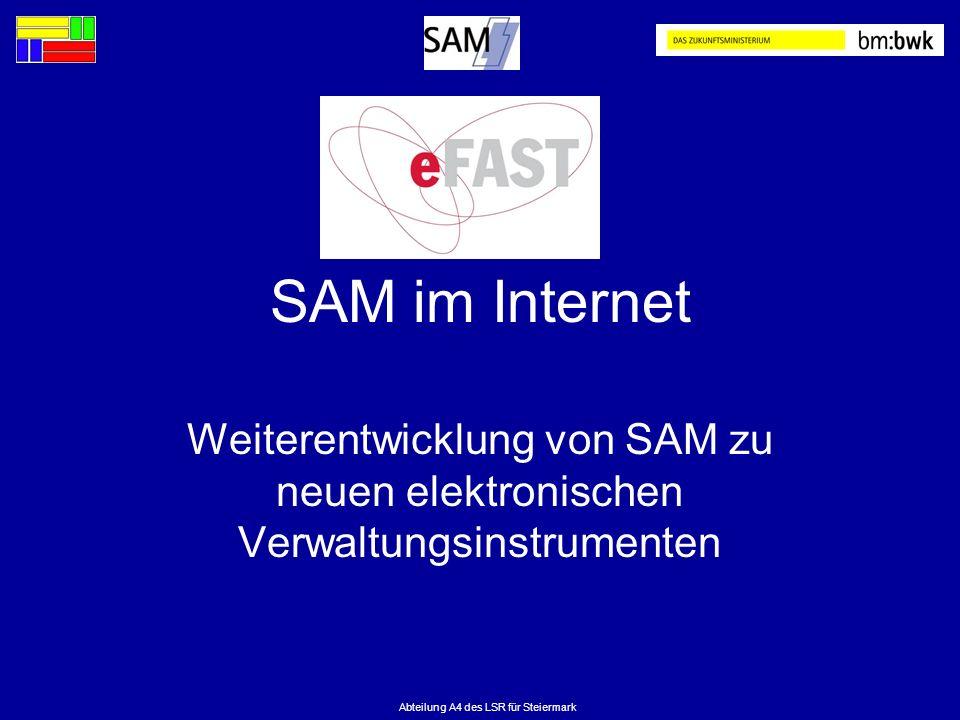 Abteilung A4 des LSR für Steiermark SAM im Internet Weiterentwicklung von SAM zu neuen elektronischen Verwaltungsinstrumenten