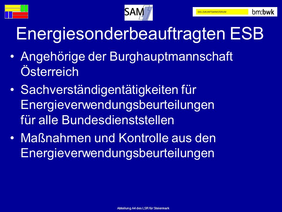 Abteilung A4 des LSR für Steiermark Energiesonderbeauftragten ESB Angehörige der Burghauptmannschaft Österreich Sachverständigentätigkeiten für Energi