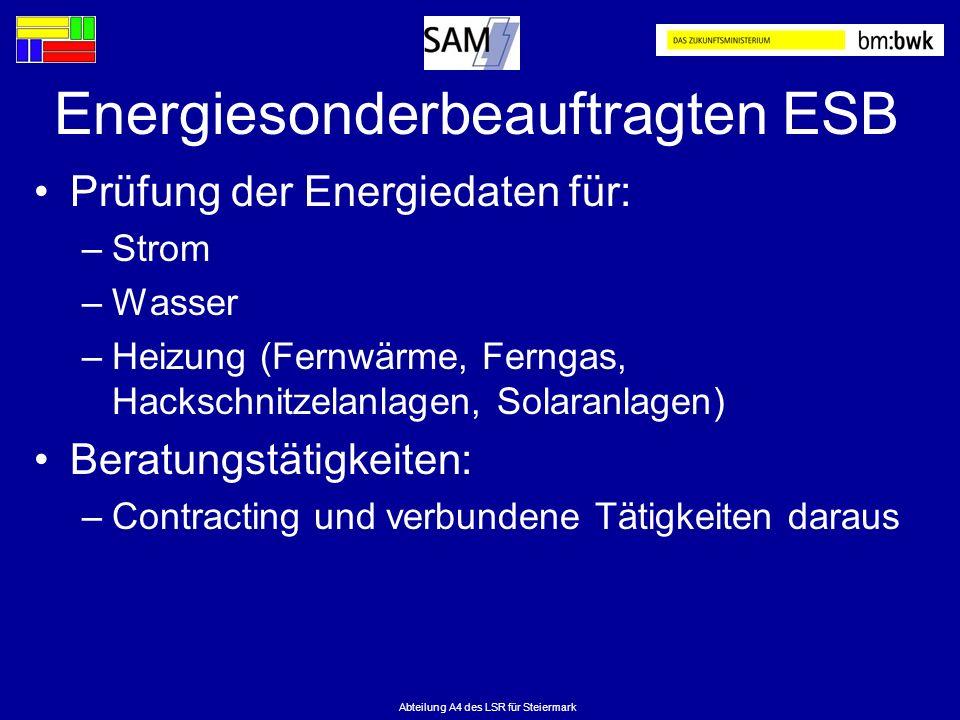 Abteilung A4 des LSR für Steiermark Energiesonderbeauftragten ESB Prüfung der Energiedaten für: –Strom –Wasser –Heizung (Fernwärme, Ferngas, Hackschni