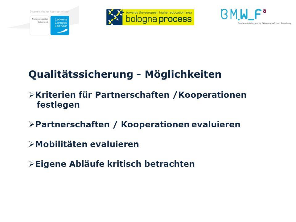 Qualitätssicherung - Möglichkeiten Kriterien für Partnerschaften /Kooperationen festlegen Partnerschaften / Kooperationen evaluieren Mobilitäten evaluieren Eigene Abläufe kritisch betrachten