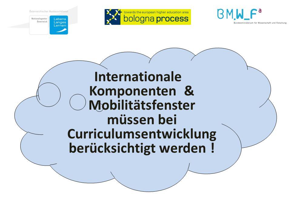 Internationale Komponenten & Mobilitätsfenster müssen bei Curriculumsentwicklung berücksichtigt werden !