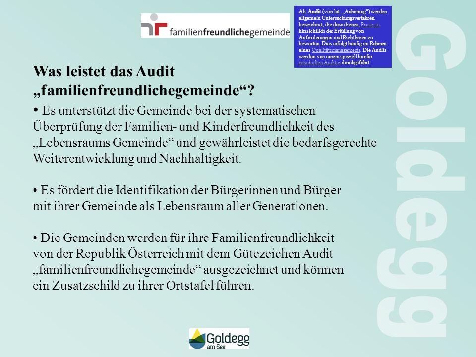 Was leistet das Audit familienfreundlichegemeinde? Es unterstützt die Gemeinde bei der systematischen Überprüfung der Familien- und Kinderfreundlichke