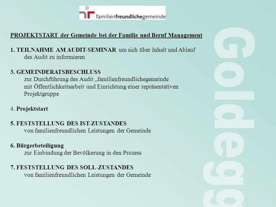 PROJEKTSTART der Gemeinde bei der Familie und Beruf Management 1. TEILNAHME AM AUDIT-SEMINAR um sich über Inhalt und Ablauf des Audit zu informieren 3