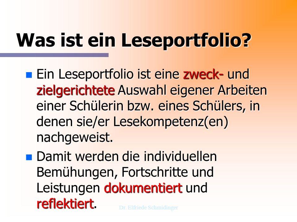 Dr. Elfriede Schmidinger Was ist ein Leseportfolio? n Ein Leseportfolio ist eine zweck- und zielgerichtete Auswahl eigener Arbeiten einer Schülerin bz