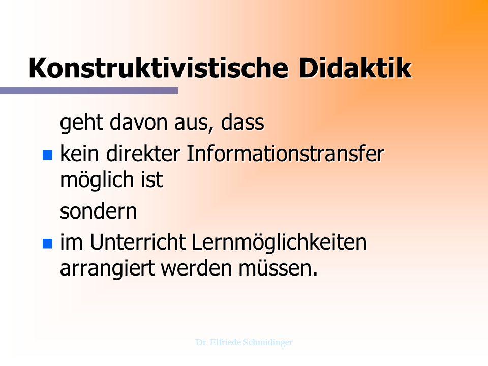 Dr. Elfriede Schmidinger Konstruktivistische Didaktik geht davon aus, dass n kein direkter Informationstransfer möglich ist sondern n im Unterricht Le