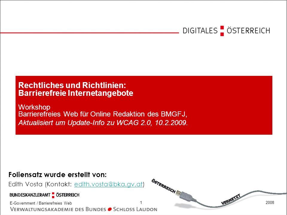 E-Government / Barrierefreies Web 22008 Muss meine Internetseite barrierefrei sein.