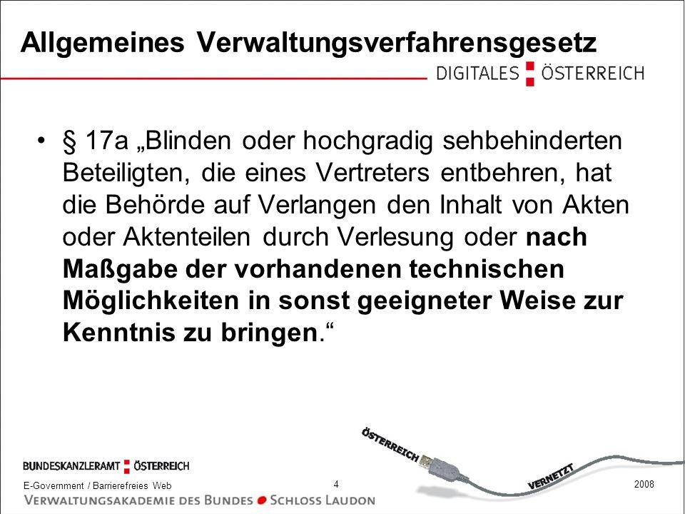 E-Government / Barrierefreies Web 52008 Urheberrechtsgesetz § 42d.