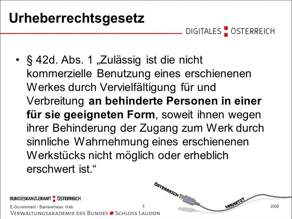 E-Government / Barrierefreies Web 62008 E-Government-Gesetz § 1 Abs.