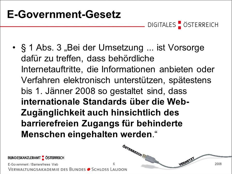 E-Government / Barrierefreies Web 272008 Relevante Richtlinien für Online Redaktion verstehen