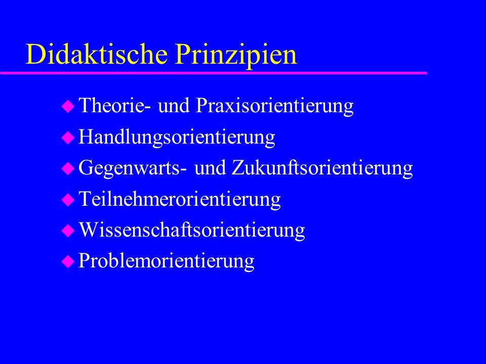 Didaktische Prinzipien u Theorie- und Praxisorientierung u Handlungsorientierung u Gegenwarts- und Zukunftsorientierung u Teilnehmerorientierung u Wis