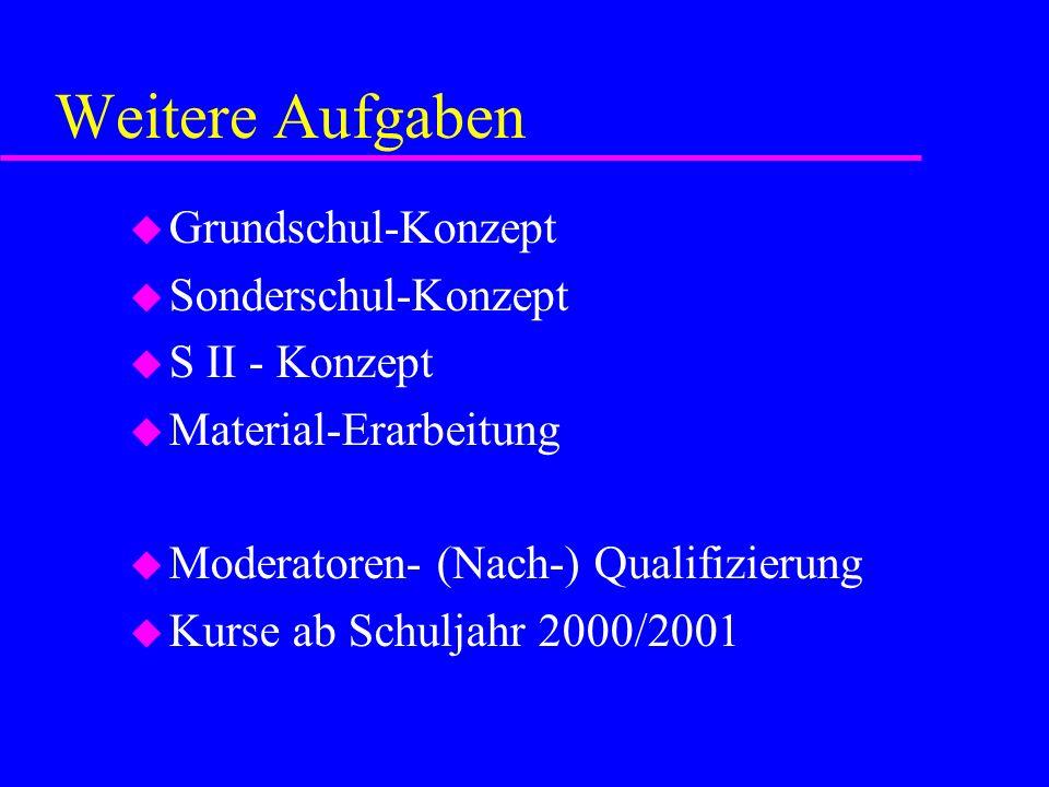 Weitere Aufgaben u Grundschul-Konzept u Sonderschul-Konzept u S II - Konzept u Material-Erarbeitung u Moderatoren- (Nach-) Qualifizierung u Kurse ab S