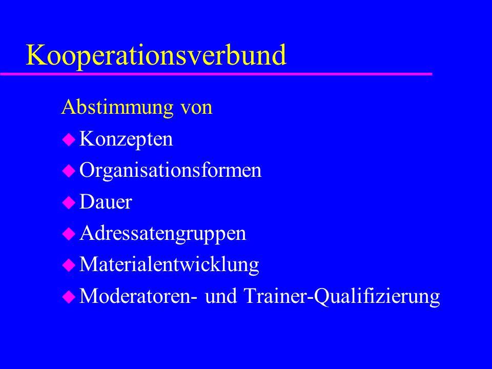 Kooperationsverbund Abstimmung von u Konzepten u Organisationsformen u Dauer u Adressatengruppen u Materialentwicklung u Moderatoren- und Trainer-Qual