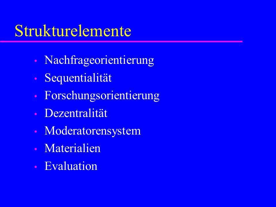 Strukturelemente Nachfrageorientierung Sequentialität Forschungsorientierung Dezentralität Moderatorensystem Materialien Evaluation