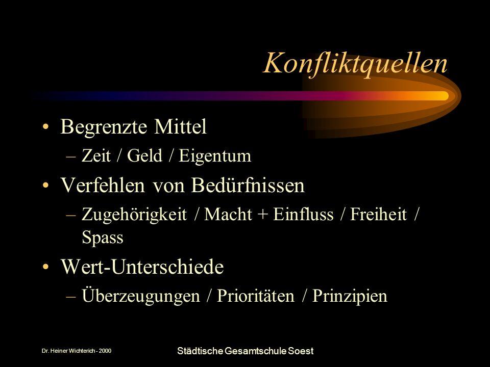 Dr. Heiner Wichterich - 2000 Städtische Gesamtschule Soest Konfliktquellen Begrenzte Mittel –Zeit / Geld / Eigentum Verfehlen von Bedürfnissen –Zugehö