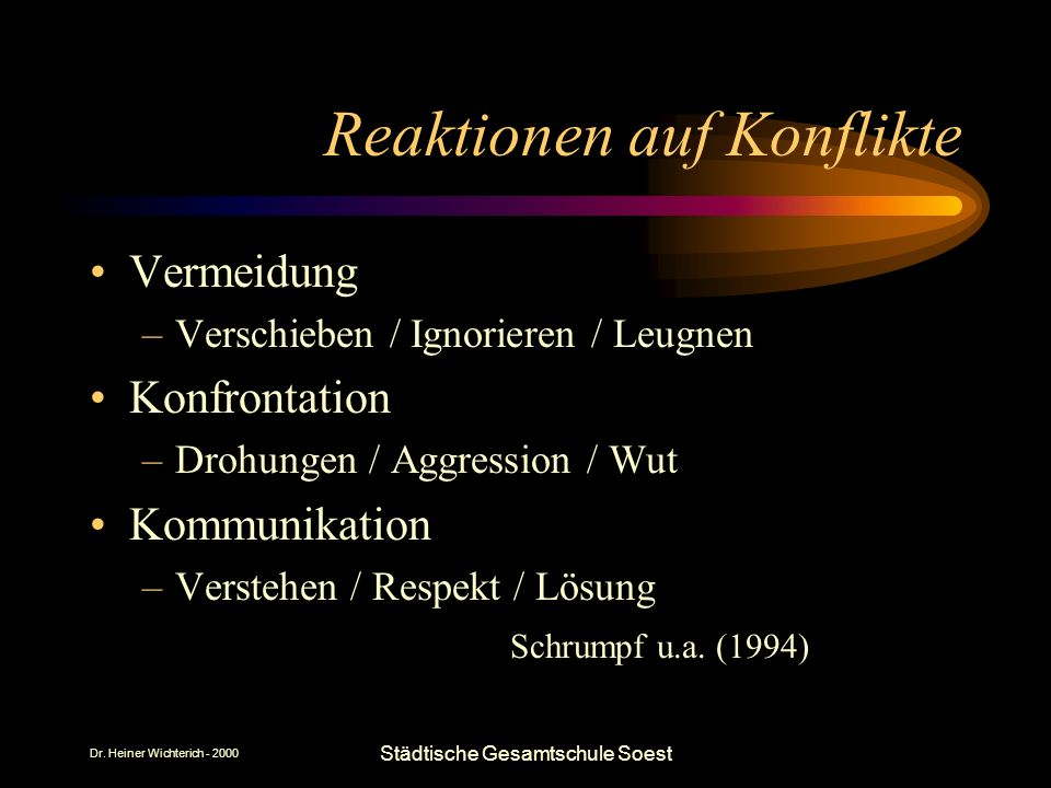 Dr. Heiner Wichterich - 2000 Städtische Gesamtschule Soest Reaktionen auf Konflikte Vermeidung –Verschieben / Ignorieren / Leugnen Konfrontation –Droh