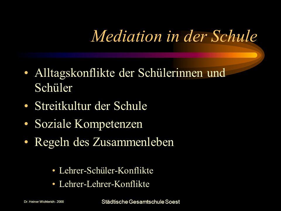 Dr. Heiner Wichterich - 2000 Städtische Gesamtschule Soest Mediation in der Schule Alltagskonflikte der Schülerinnen und Schüler Streitkultur der Schu