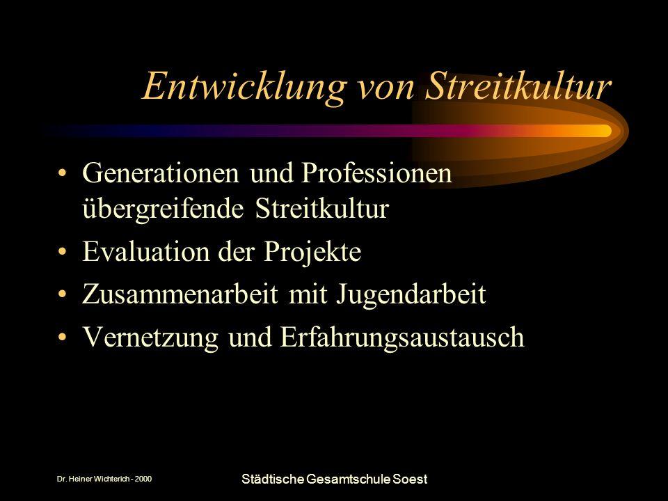 Dr. Heiner Wichterich - 2000 Städtische Gesamtschule Soest Entwicklung von Streitkultur Generationen und Professionen übergreifende Streitkultur Evalu