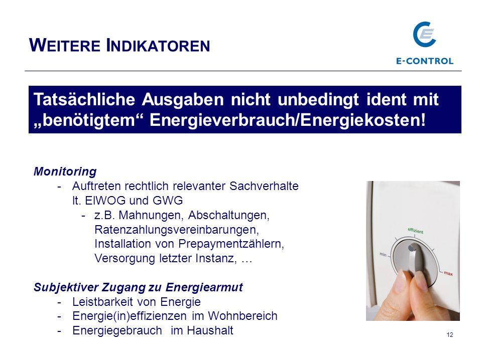 W EITERE I NDIKATOREN 12 Tatsächliche Ausgaben nicht unbedingt ident mit benötigtem Energieverbrauch/Energiekosten.