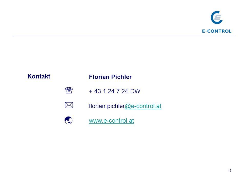 15 Florian Pichler + 43 1 24 7 24 DW florian.pichler@e-control.at@e-control.at www.e-control.at Kontakt