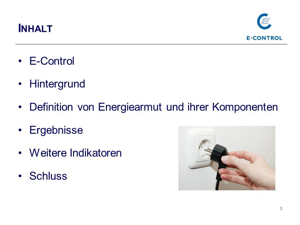 I NHALT E-Control Hintergrund Definition von Energiearmut und ihrer Komponenten Ergebnisse Weitere Indikatoren Schluss 3